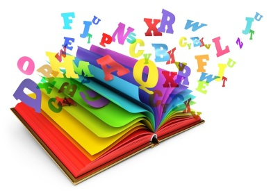 Letters flying out of an open book. Magic book. Fairy tale